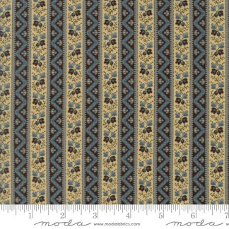 Pumpkin Pie Fabric - Moda Fabric - Half Yard - Floral Reproduction Indian Summer Blue Stripe Edyta Sitar Laundry Basket Quilts 42281 12