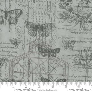Quill Fabric - Moda Fabric - Half Yard - Floral Botanical Sketchbook Butterfly Bees Aqua Blue Tonal Fabric 3 Sisters Quilt Fabric 44150 14