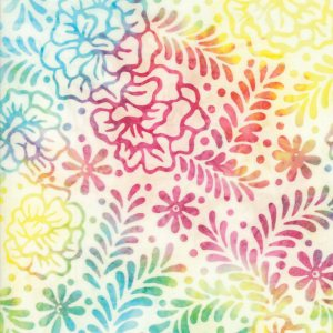 Salsa Batik Fabric - Moda Fabric - Half Yard - White with Greens, Teals, Pinks and Yellows Rainbow Leaf Print Hand Dyed Quilt Fabric 4345 11