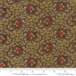 Sweet Cherry Wine Fabric - Moda Fabric - Half Yard - Floral Reproduction Fern Fronds Flowers Brown Blackbird Designs Fabric 2783 17