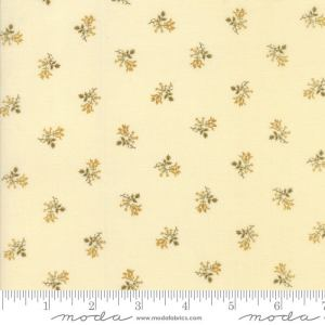 Sweet Cherry Wine Fabric - Moda Fabric - Half Yard - Floral Shirting Cream White with Taupe Brown Gold Blackbird Designs Fabric 2785 22