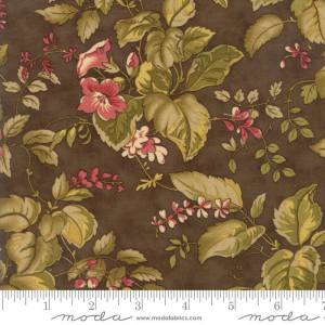 Sweet Cherry Wine Fabric - Moda Fabric - Half Yard - Reproduction Floral Flowers Leaves Brown with Green Blackbird Designs Fabric 2782 17