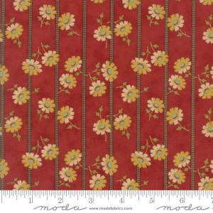Sweet Cherry Wine Fabric - Moda Fabric - Half Yard - Striped Floral Red with Gray Stripes Yellow Flowers Blackbird Designs Fabric 2784 12