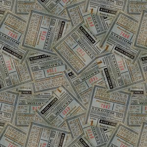 Vintage Varsity - Half Yard - Eclectic Fabric - Old Fashioned Vintage Wilmington prints Blue Packed Ticket Stubs 84365-492