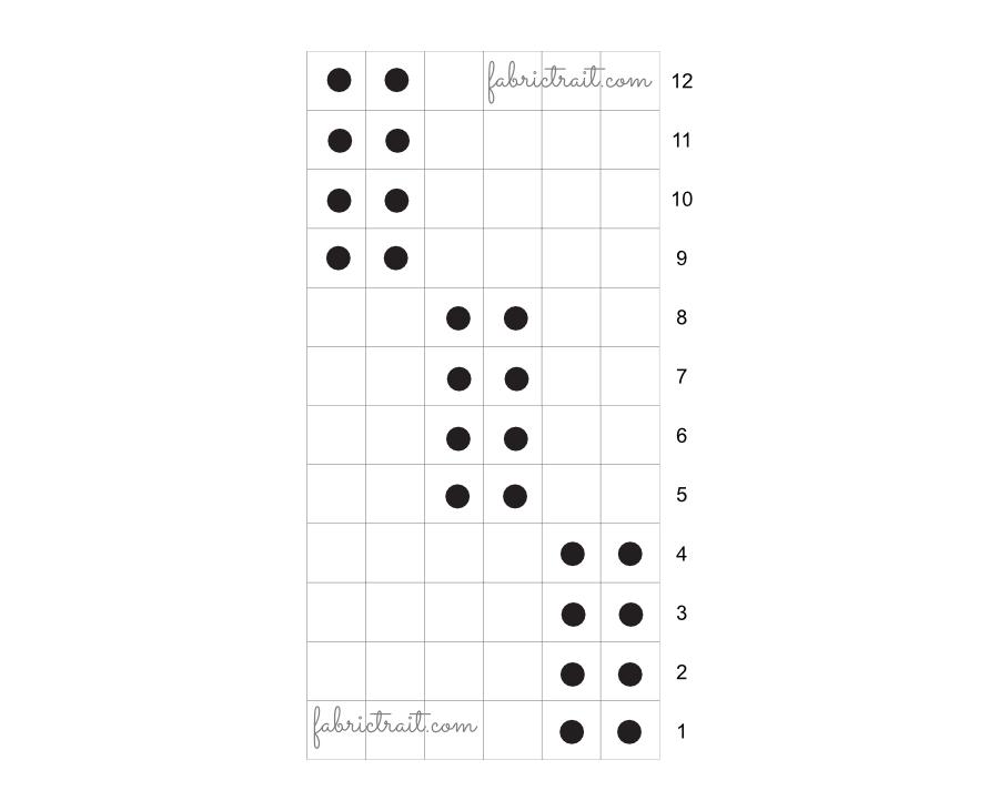 Pontos de Tricot - Ponto Canelado Diagonal 1 | pontos de trico canelado