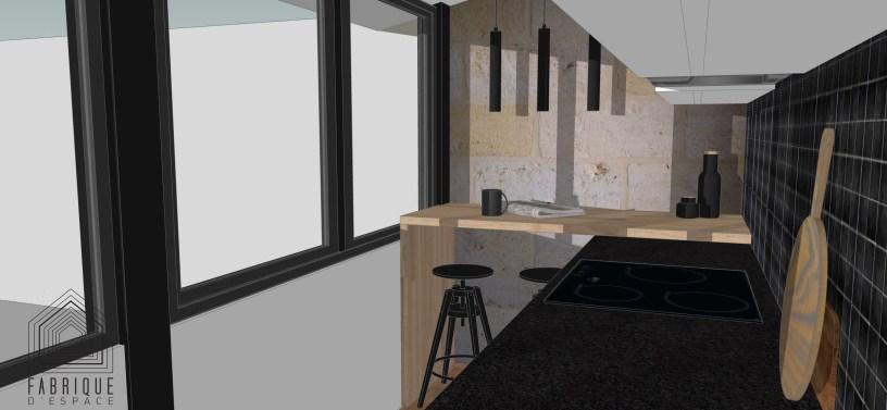 Comptoir chêne en superposition au plan de travail en granit noir // Mélange de matériaux de qualité // Échoppe LE BOUSCAT