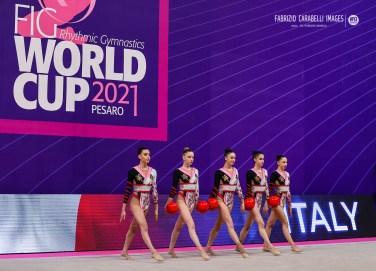 Italy group team during the Rhythmic Gymnastics FIG World Cup 2021 Pesaro at Vitrifrigo Arena, Pesaro, Italy on May 28, 2021 - Photo FCI / Fabrizio Carabelli