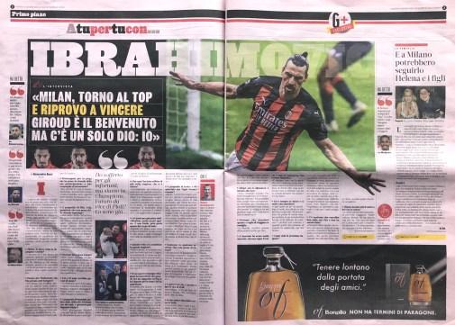 Pubbl. 04_06_2021 LA GAZZETTA DELLO SPORT Ibrahimovic
