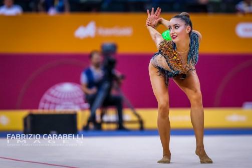 Baku, Azerbaijan - 09/19/2019: FIG Rhythmic Gymnastics World Championships 2019 Baku (AZE) - KIROI-BOGATYREVA (AUS)