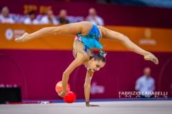 Baku, Azerbaijan - 09/19/2019: FIG Rhythmic Gymnastics World Championships 2019 Baku (AZE) - ARINA AVERINA (RUS)