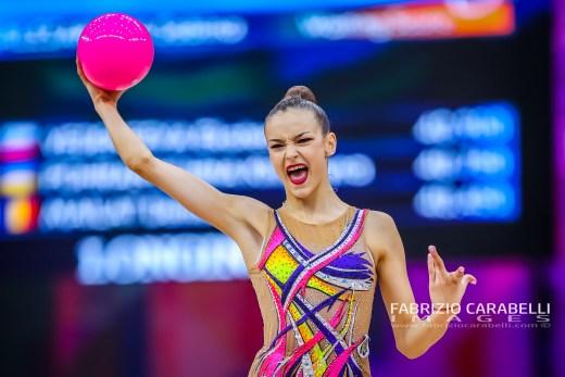 Baku, Azerbaijan - 09/19/2019: FIG Rhythmic Gymnastics World Championships 2019 Baku (AZE) - ZALESAKOVA (CZE)