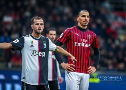 Zlatan Ibrahimovic of AC Milan and Miralem Pjanic of Juventus during the Coppa Italia 2019/20 match between AC Milan vs Juventus at the San Siro Stadium, Milan, Italy on February 13, 2020 - Photo Fabrizio Carabelli