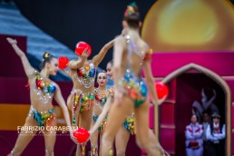 Baku, Azerbaijan - 09/19/2019: FIG Rhythmic Gymnastics World Championships 2019 Baku (AZE) - Russian Federation Group