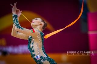 Baku, Azerbaijan - 09/19/2019: FIG Rhythmic Gymnastics World Championships 2019 Baku (AZE) - Salos (BLR)