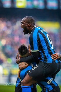 Lautaro Martínez of FC Internazionale celebrate with Romelu Lukaku of FC Internazionale during the Serie A 2019/20 match between FC Internazionale vs Cagliari Calcio at the San Siro Stadium, Milan, Italy on January 26, 2020 - Photo Fabrizio Carabelli