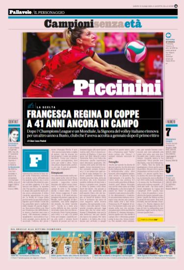 Pubbl. 13_06_2020 LA GAZZETTA DELLO SPORT Francesca Piccinini (UYBA Unet E-Work Busto Arsizio) FCI_4857