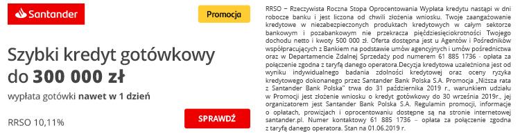 szybki kredyt gotówkowy w Santander