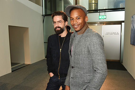 LONDON, ENGLAND - JANUARY 07: Jack Guinness (L) and Eric Underwood attend the Oliver Spencer AW17 Catwalk Show during London Fashion Week Men's January 2017 at the BFC Show Space on January 7, 2017 in London, England. Pic Credit: Dave Benett