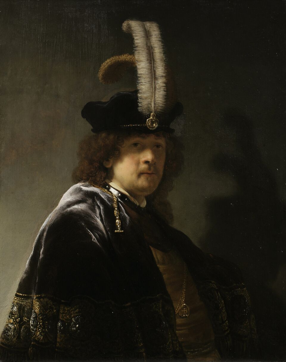 Self Portrait Wearing A White Feathered Bonnet, Rembrandt Van Rijn (c) National Trust, Image Chris Titmus