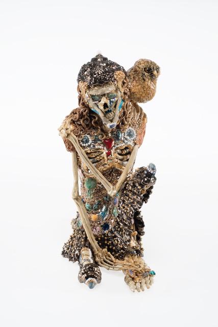 Carolein smit skelet met uiltje. carolein smit skeleton with little owl.