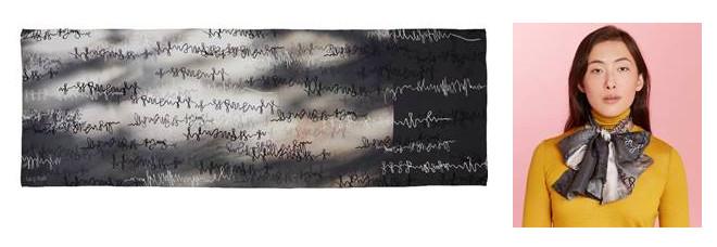 Lucy hall design scribe silk scarf