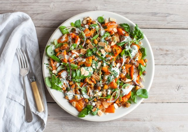 Crushed carrot salad with crispy spiced chickpeas and kefir dressing