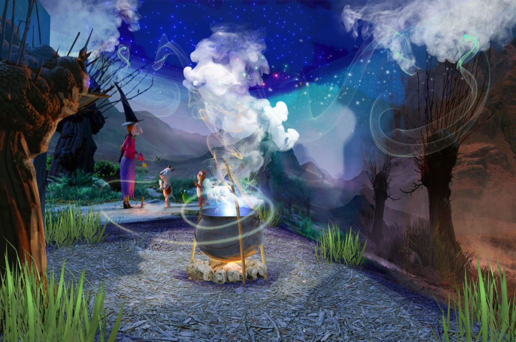Conceptual image of room on the broom a magical journey (5)