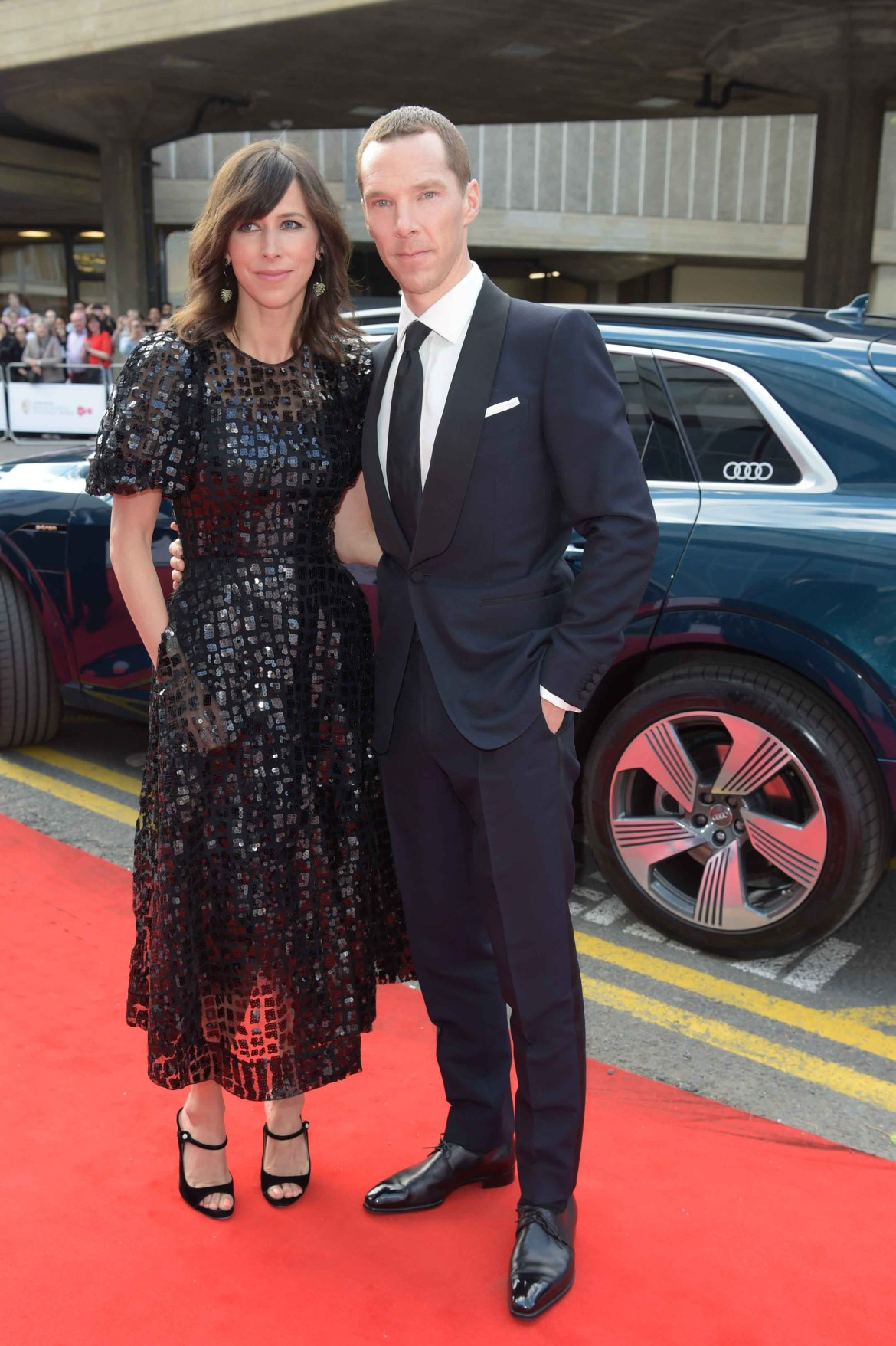 Sophie hunter & benedict cumberbatch arrive in an audi e tron at the virgin media british academy television awards at the royal festival hall, london, sunday 12 may 2019 (2)