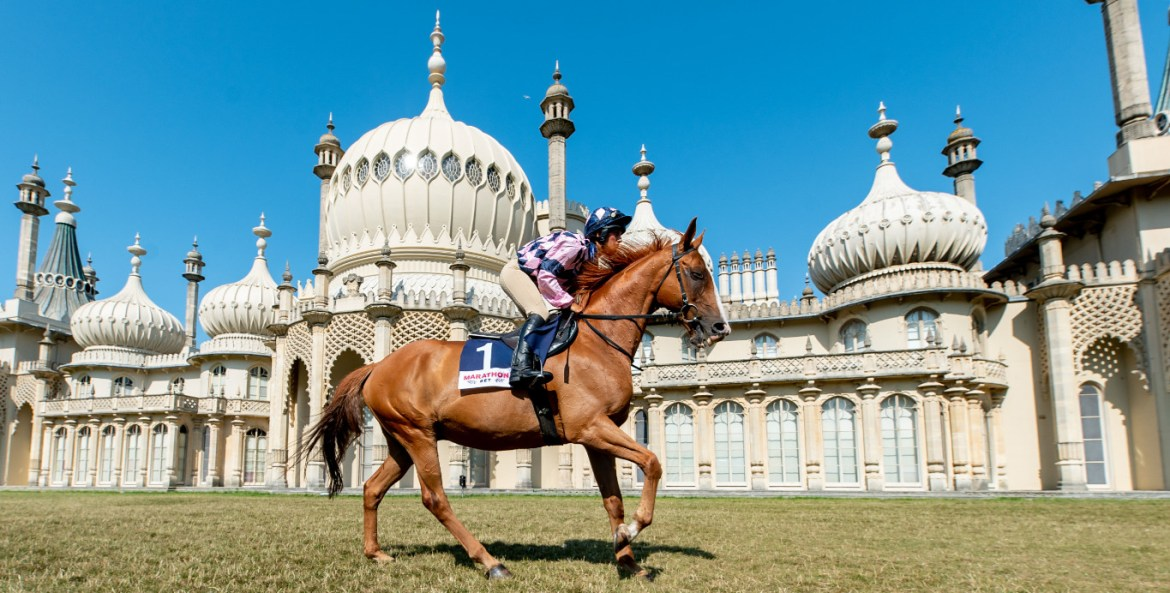 Lucie moore on sire de grugy at the royal pavilion Festival of Racing