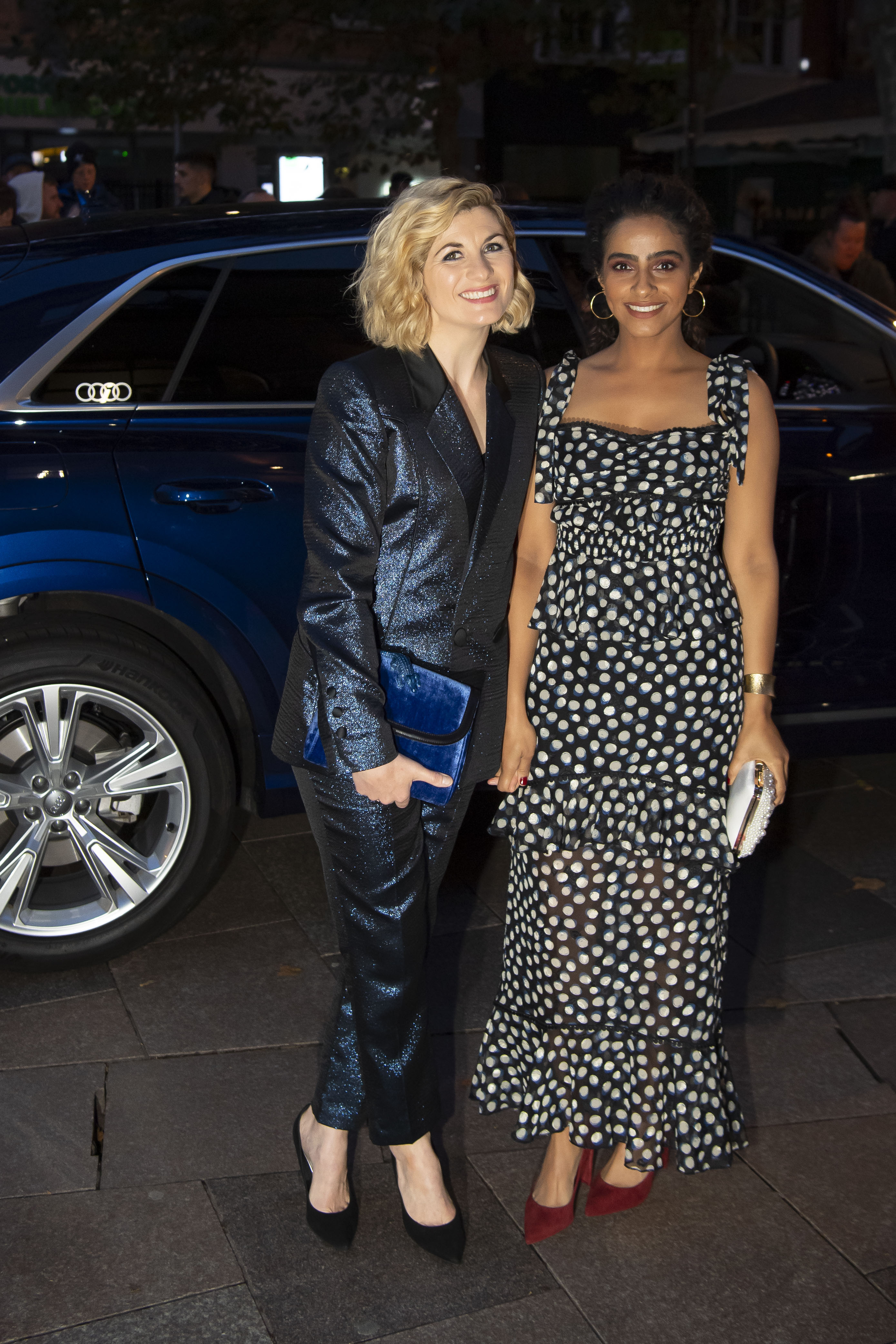Jodie-Whittaker-Mandip-Gill-arrive-in-an-Audi-at-the-British-Academy-Cymru-Awards-2019-Cardiff-Sunday-13-October-2019