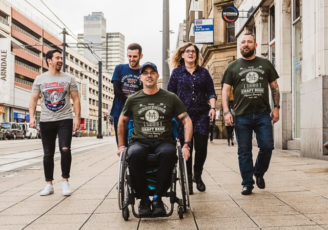 L r craig monaghan, kieran wood, laura & john murphy, lee patmore in wheelchair