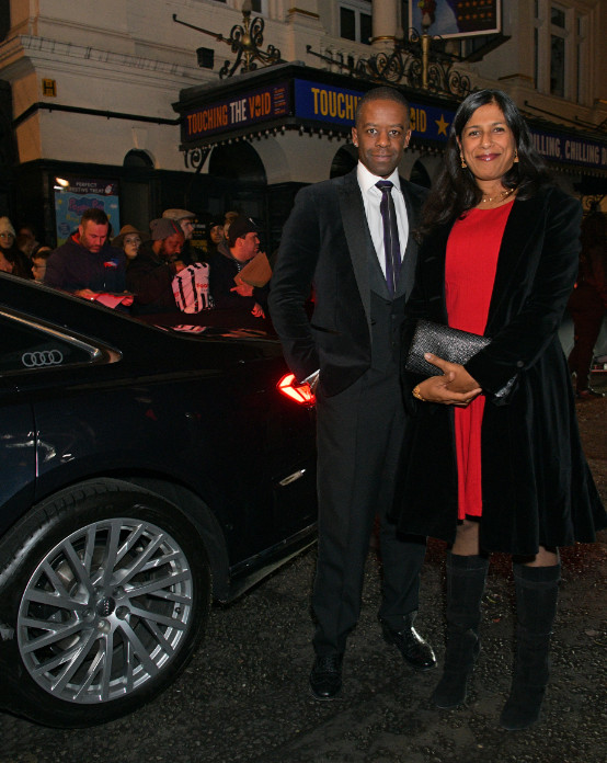 Adrian lester & lolita chakrabarti arrive in an audi at the evening standard theatre awards at the london coliseum on sunday 24 november 2019