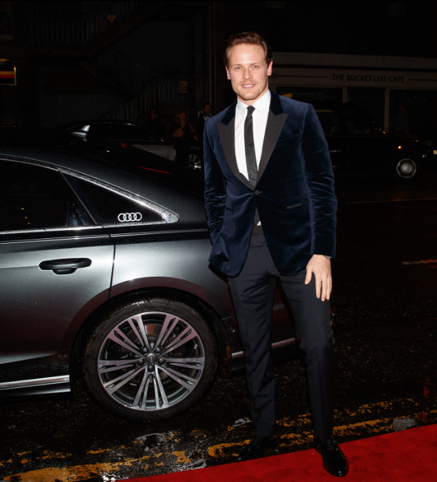 Sam heughan arrives in an audi at the british academy scotland awards 2019, glasgow, sunday 03 november 2019 (2)
