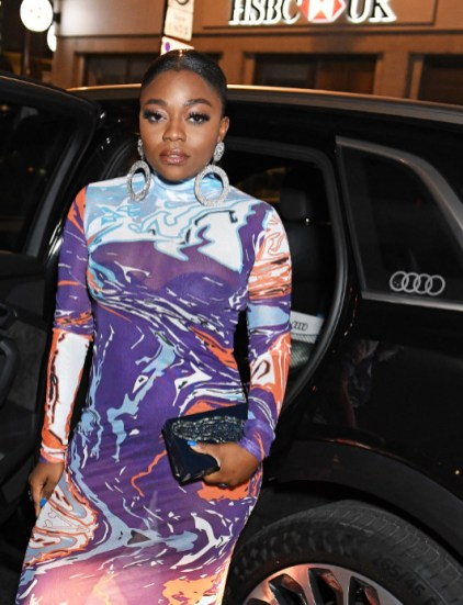 Fisayo longe arrives in an audi at the vanity fair ee bafta rising star party at the standard, london, wednesday 22 january 2020