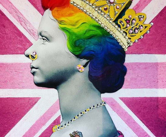 Illuminati neon, rainbow queen, 2020, giclée fine art print handfinished in gold and jewels, 85 x 65 cm