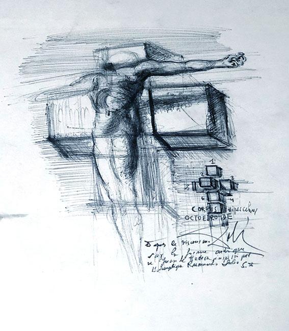 Fabuk art salvador dali study for corpus hypercubus c. 1954