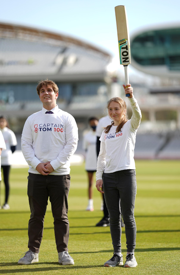 Benjie ingram moore and georgia ingram moore at lord's for the launch of the captain tom 100