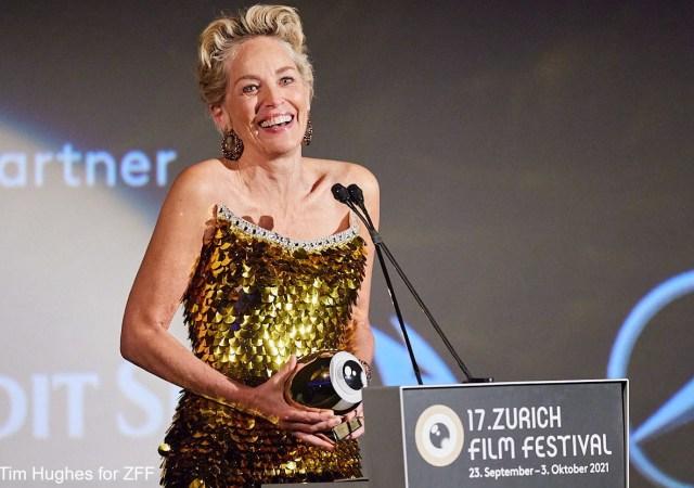 Sharon stone receives golden icon award