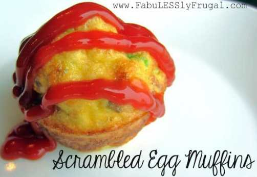 scrambled egg muffin with ketchup