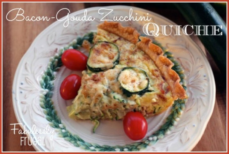 Bacon gouda quiche on a plate with text over the image