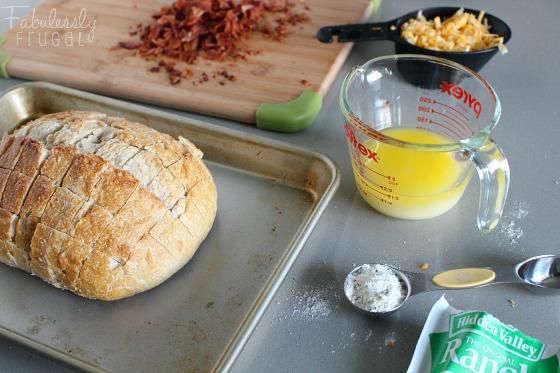 sourdough bacon cheddar ranch pull apart bread