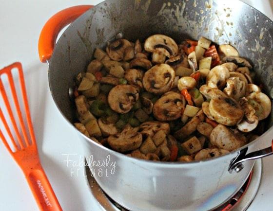 Garlic Mushroom Chowder Coat Veggies