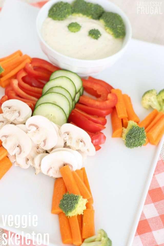 Vegetable skeleton veggie tray for Halloween