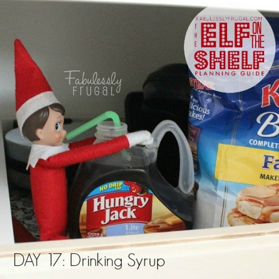 25 Days of funny Elf on the Shelf Ideas: Day 17 Drinking syrup