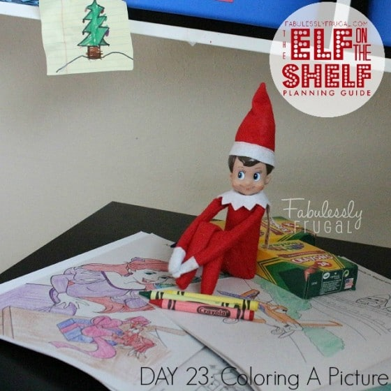 Elf on the Shelf Planning Guide Day 23 Color a Picture