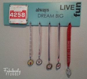 Race bib and medal display diy