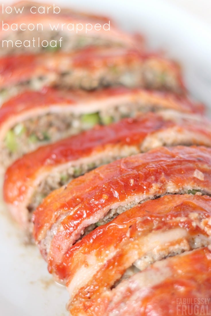 Low carb keto bacon wrapped meatloaf