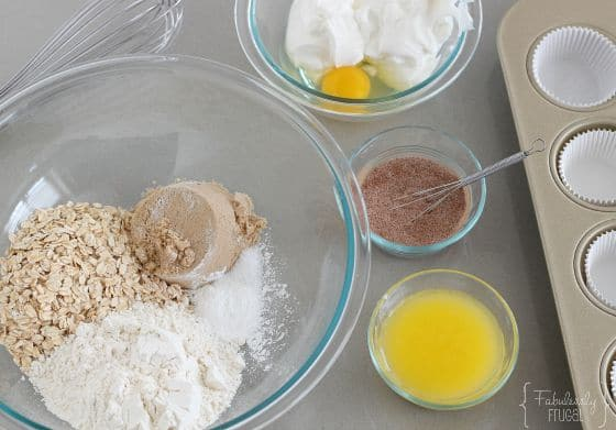 ingredients for peach oatmeal muffins