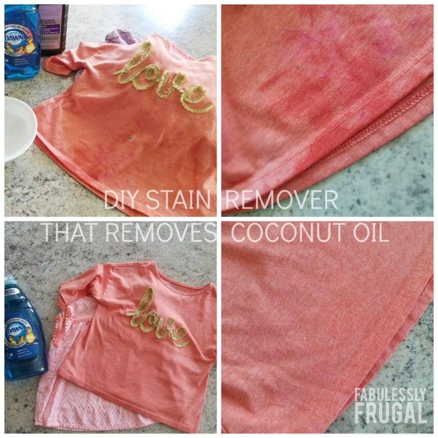 Homemade Stain Remover that will get rid of a coconut oil stain