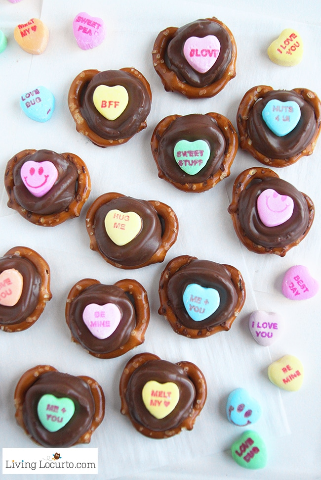 Heart chocolate pretzels for Valentines